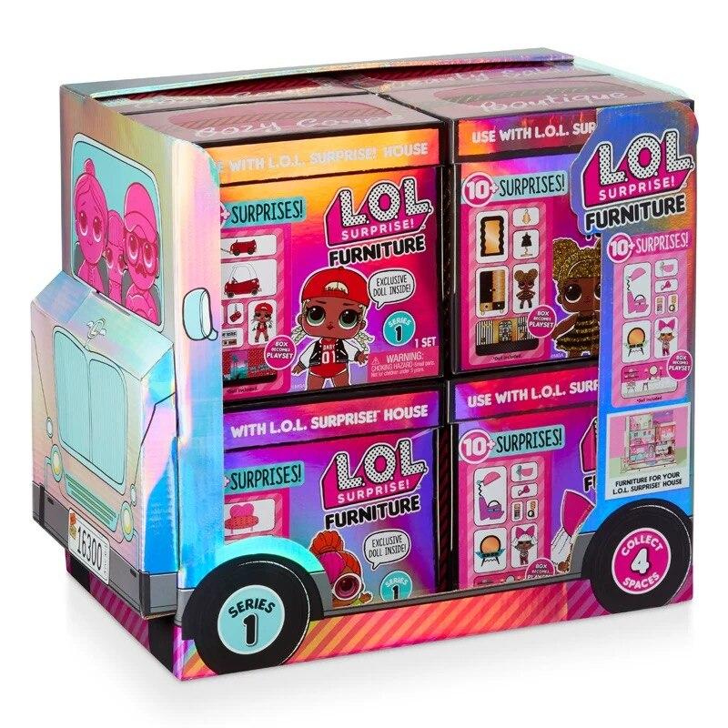 LOL Surprise poupée démolition balle aveugle boîte jouet fille cadeau danniversaire enfant Simulation jouer maison ensemble poupée poupée devinant meubles