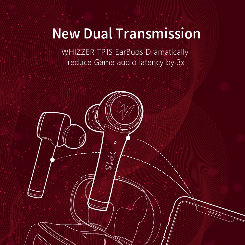 Whizzer TP1S Earphones wireless Bluetooth headset 3D stereo dual microphone waterproof sports earplugs Touch Control Voice enlarge