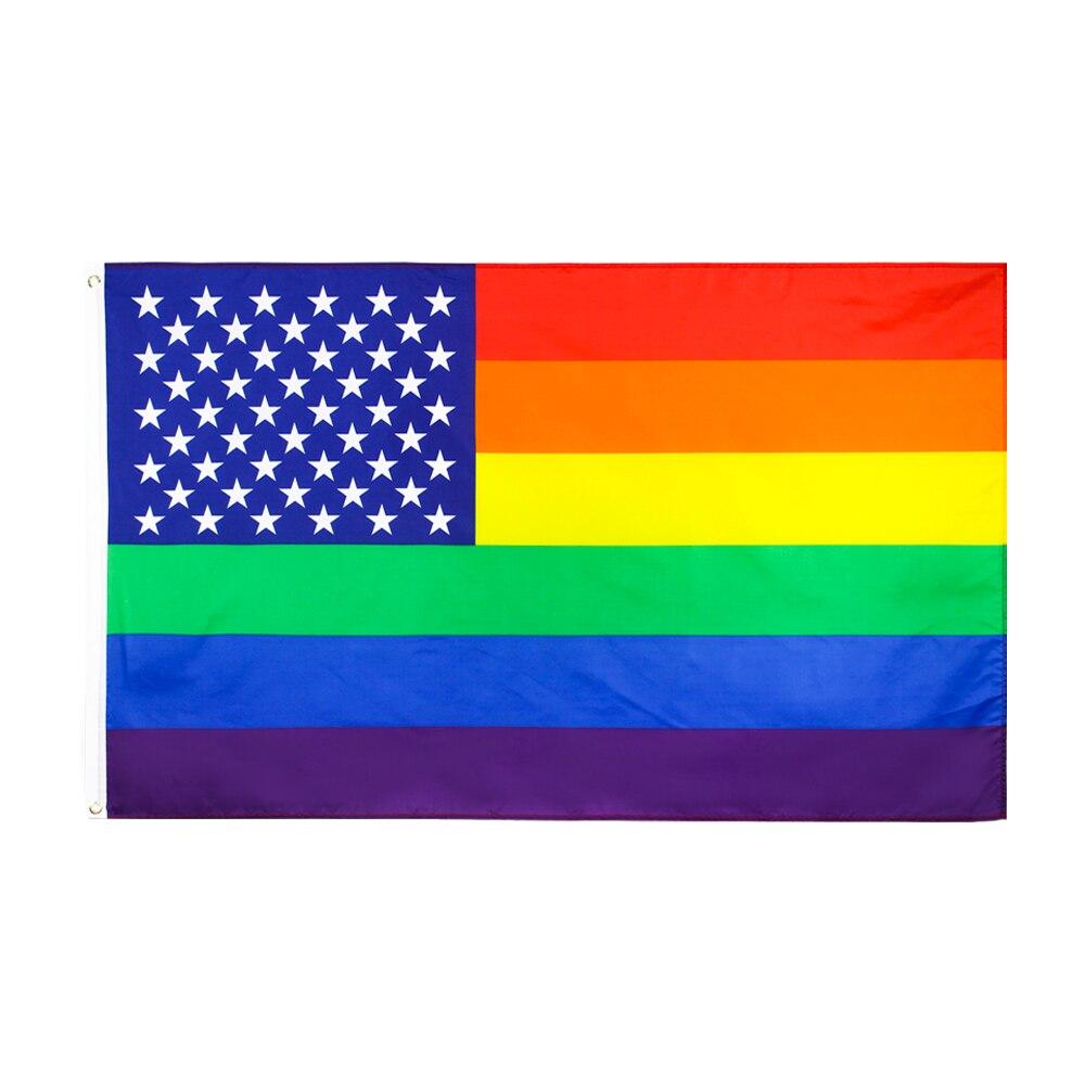 90x150cm LGBT homosexual american gay pride rainbow Flag