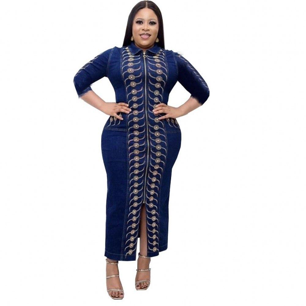 2021 ربيع الخريف الدنيم الأفريقية ماكسي فساتين للنساء 2021 أفريقيا الملابس مسلم فستان طويل جودة عالية فساتين راقية سيدة