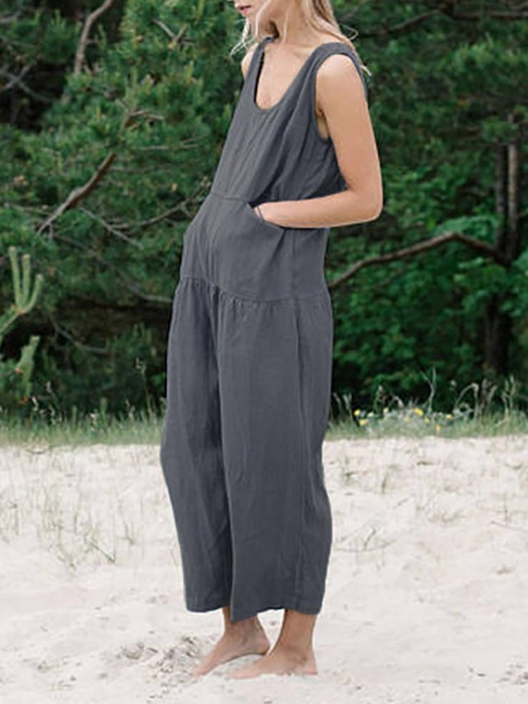 newest cotton linen Jumpsuit fashion Women casual Playsuit lady Rompers Summer Beach Casual Clothes largest clothes
