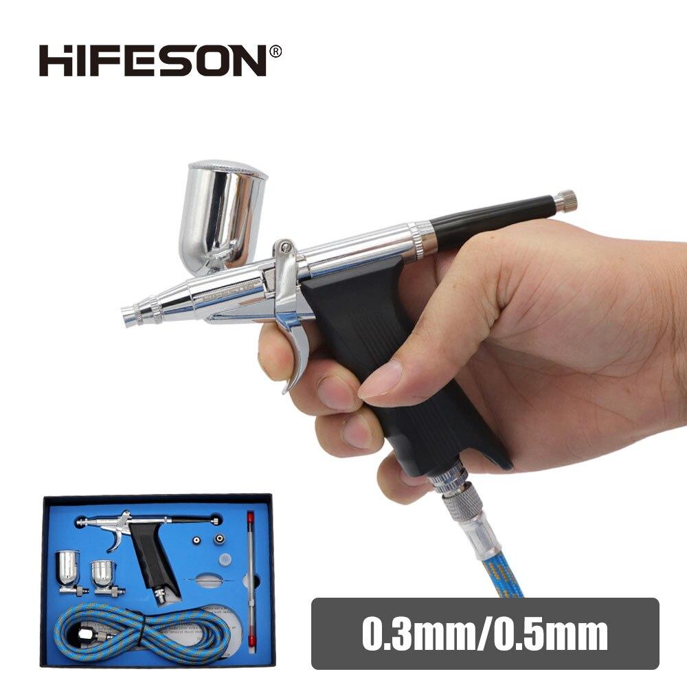 Sprężone powietrze szczotka pistolet pneumatyczny Mini malowane farbą w sprayu pistolet narzędzie 0.3/0.5mm dysza AirBrush Pen dla samochodów komercyjnych malowanie przybornik