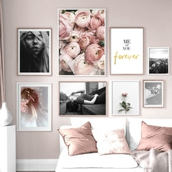 Mulher rosa flor preto branco planta citação parede arte da lona pintura nordic posters e impressões fotos de parede para sala estar decoração