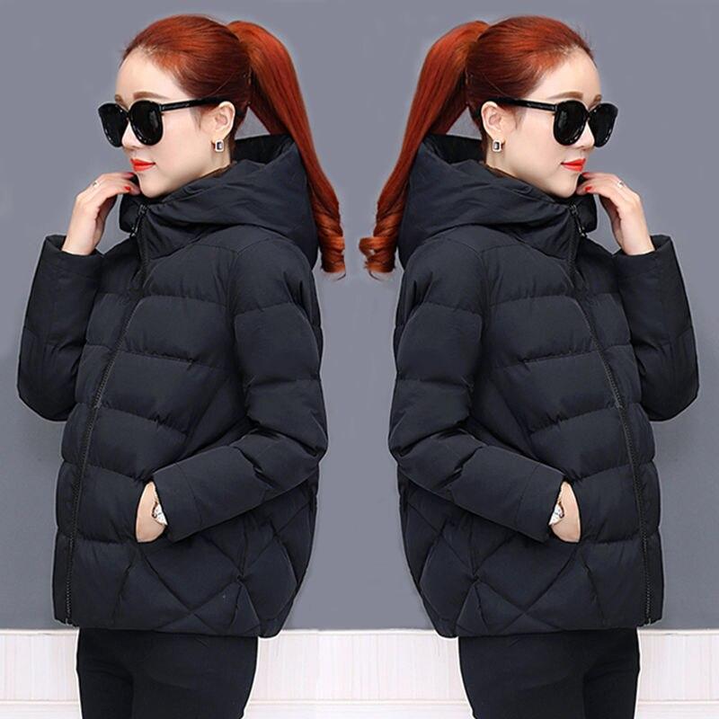 2020 New Arrival korean Women Winter Coat Puffer Black Warm Thick Winter Jacket Padded Hooded Short Bubble Coat Slim 0.8