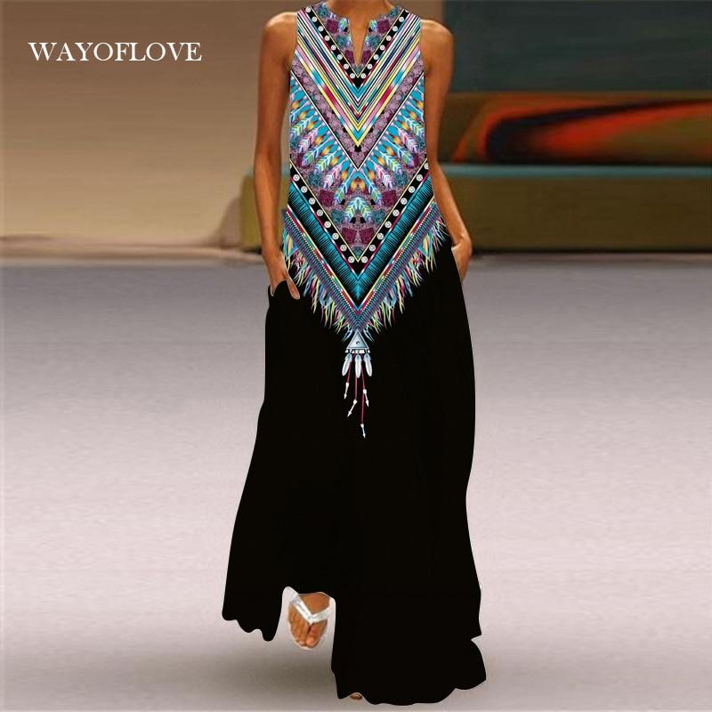 WAYOFLOVE Black Stripe Printed Beach Dress 2021 Robe Casual Plus Size Long Dresses Summer Woman Slee