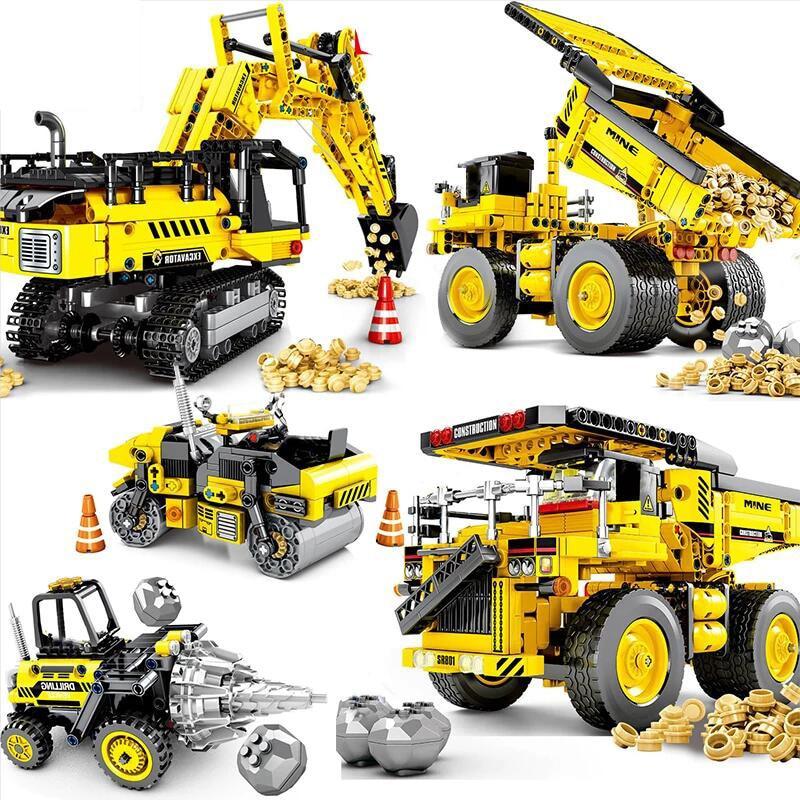 City Engineering bricks Set Bulldozer Crane Technic Car Truck Excavator Building Blocks car Toy For Children Kids Gifts недорого