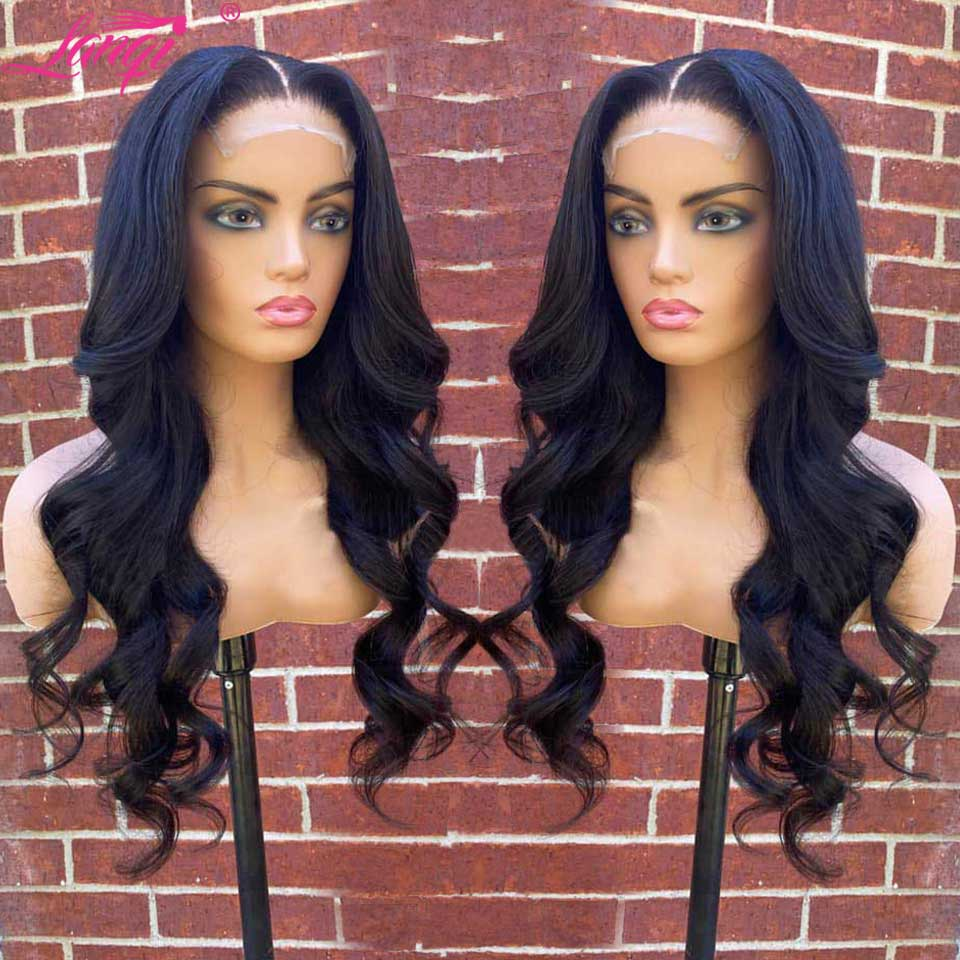 Lanqi Wholesale 4x4 Lace Closure Wig In Bulk Brazilian Pre Plucked Body Wave Lace Front Wig Lace Front Human Hair Wigs For Women