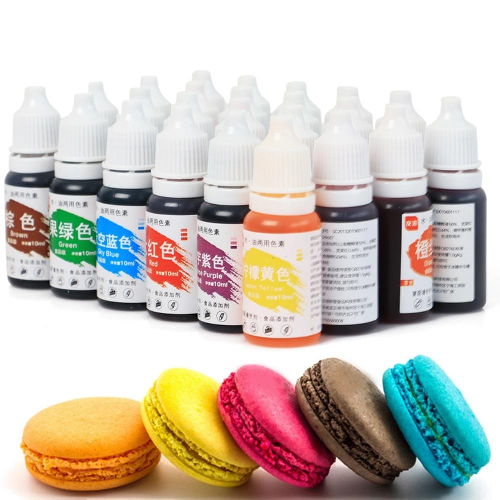 Colorante comestible en 24 colores, crema de 10ML, ingredientes para coloreado de alimentos, pastel de Fondant, pastel de hornear, pigmento de Color comestible, herramientas de pastelería