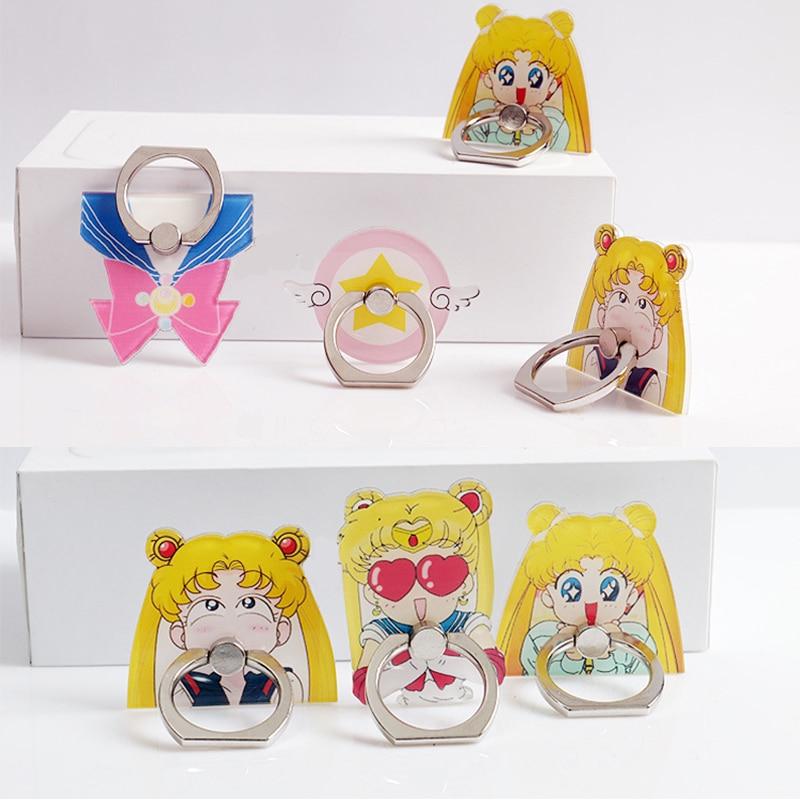 Sailor Moon Cosplay Prop Accessories Luna Cat Rotatable Mobile Phone Bracket Ring Buckle