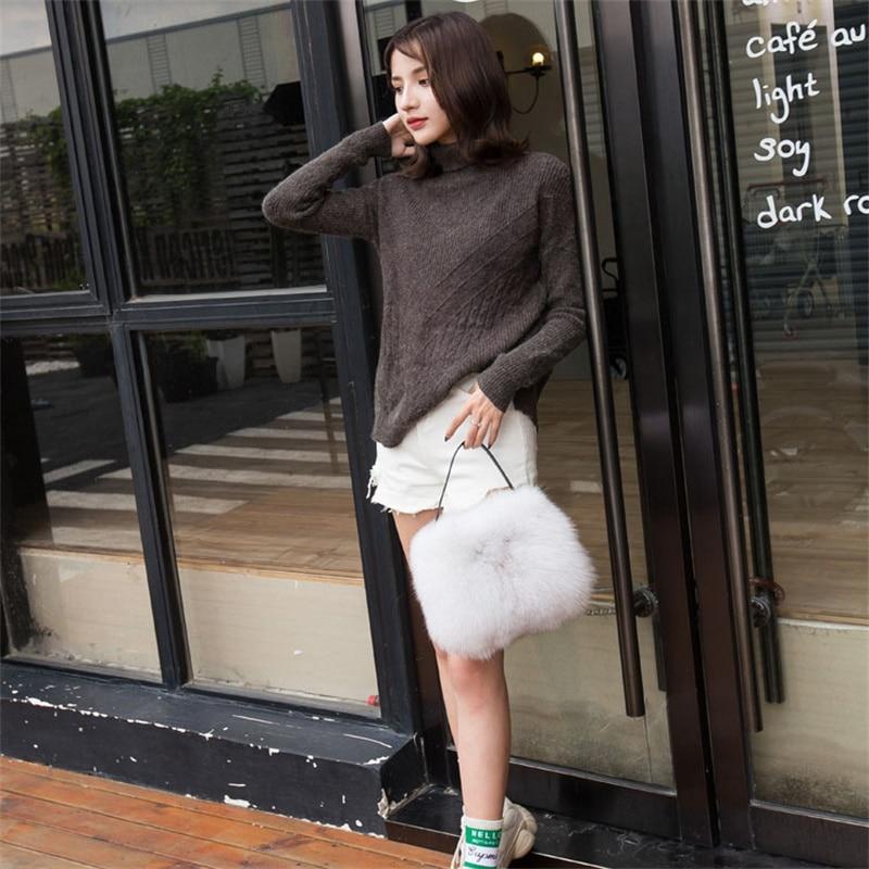 2021 New Winter Fashion Fox Fur Bag Large Capacity Single Shoulder Bag Women's Shoulder Messenger Handbag Bag Plush Female Bag