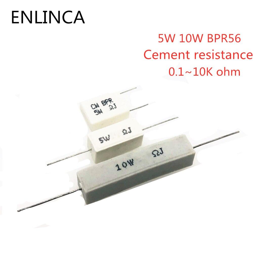Resistência do cimento, 10w bpr56 0.1 ~ 10k ohm 0.33r 1r 10r 100r 0.22 0.33 com 10 peças resistor de cimento 1 10 100 1k 10k ohm
