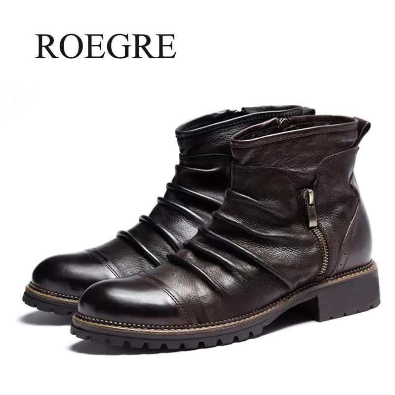 2019 novo outono botas de couro dos homens moda retro zíper ankle booties respirável tamanho grande masculino botas da motocicleta sapatos festa 47 48