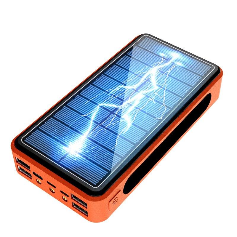 لوح طاقة شمسية Powerbank 50000mAh مع مصباح يدوي شاحن محمول 4 USB نوع C Poverbank لباد آيفون سامسونج شاومي قوة CD22