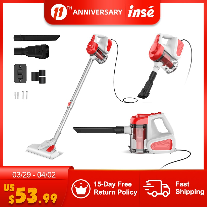 Corded Vacuum Cleaner 18Kpa 600W High Suction Vertical INSE I6 Handheld for Carpet and Floor