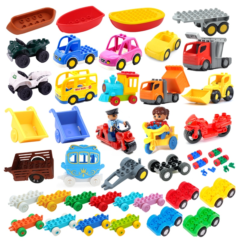 Car Model Children Assemble Toys Big Building Blocks City Traffic Parts Vehicle Trailer Chassis Boat