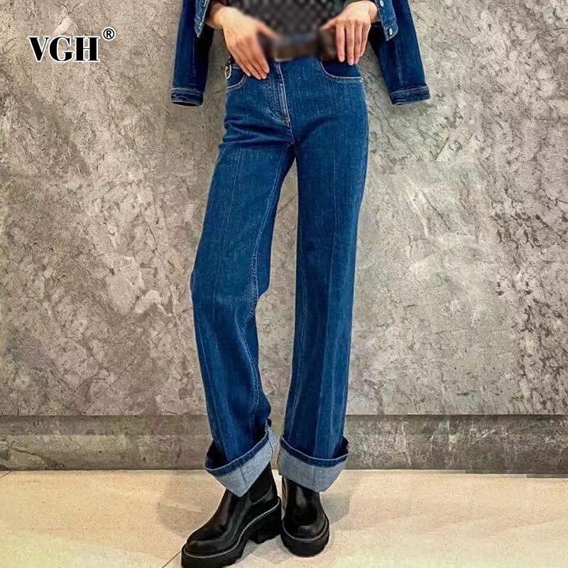VGH عادية الأزرق سراويل جينز للنساء عالية الخصر الكورية الصلبة الحد الأدنى بنطال جينز ضيق بقصة مستقيمة الإناث 2021 الصيف الاسلوب المناسب