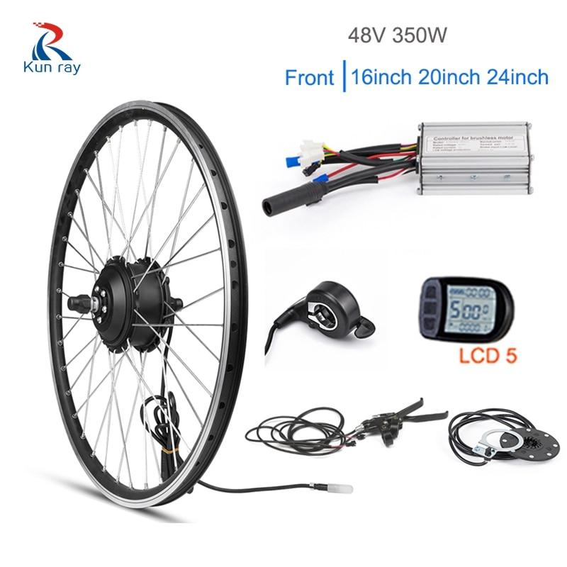 Kunray-Kit de bicicleta eléctrica de 48V y 350W, rueda de Motor delantero...