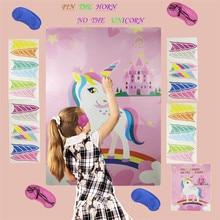 Juego de unicornio CHENN Pin The Horn On The Unicorn de 72x54cm, pegatinas para la pared, decoración del hogar, suministros de fiesta de cumpleaños C25