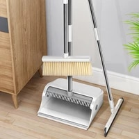 magic broom dustpan set stainless folding cleaning combination long comb teeth windproof clean dustless extendable broom set