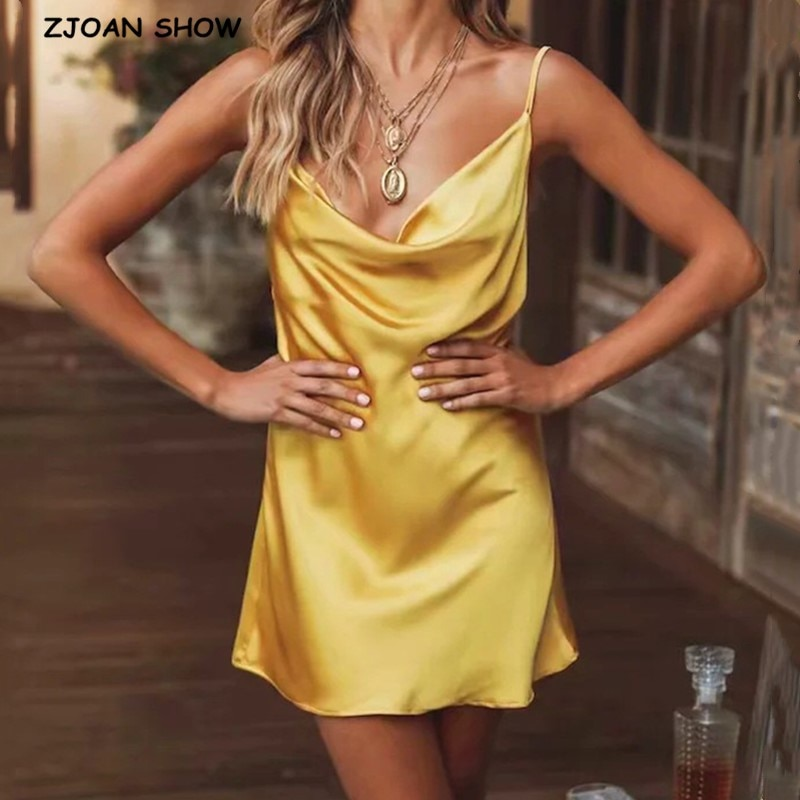 2020 Sexy Slash Collar Backless Bright Satin Sling Dress Woman Vintage Spaghetti Strap A line Like Silk Short Base Dress Sling