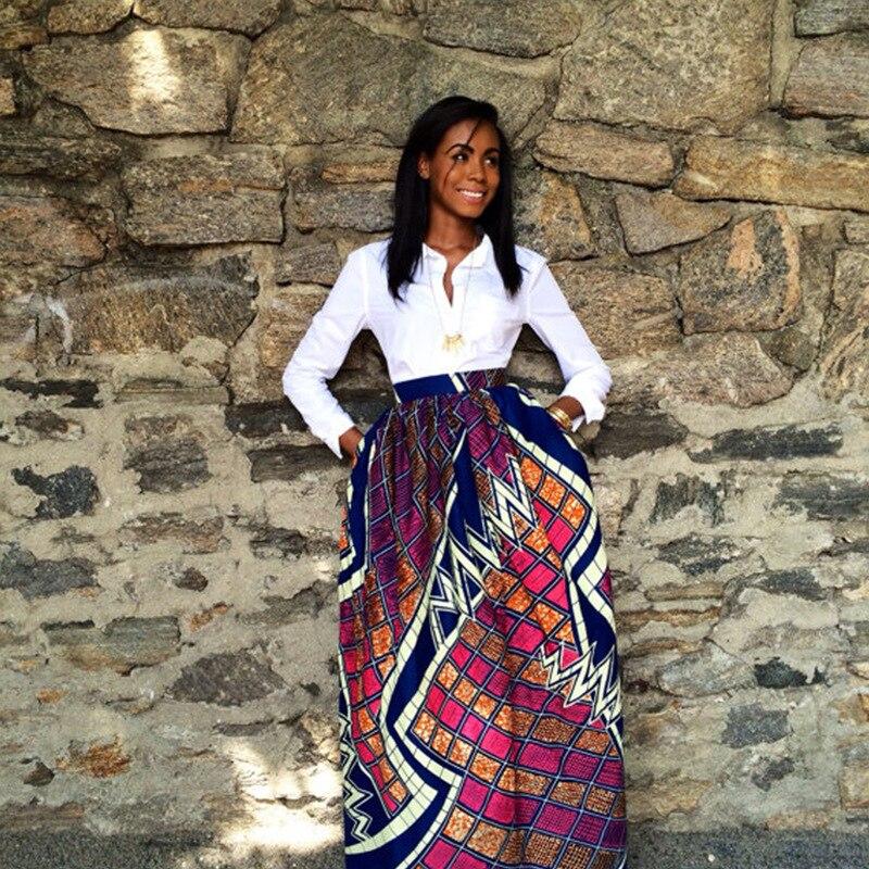 Imprimir faldas 2019 africanos vestidos para mujeres de moda Dashiki falda bata estilo Bazin ropa Vestido Oriente Medio Riche tradicional