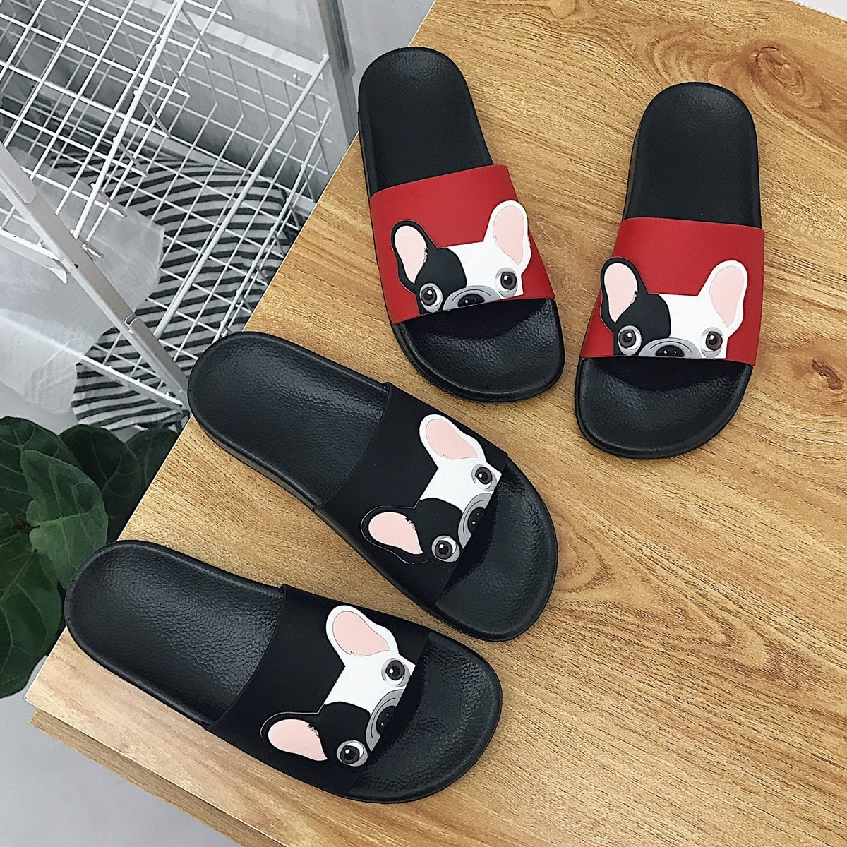 Slippers Women Summer New Korean Students Cute French Dog Fighting One-word Thick-sole Casual Slipper
