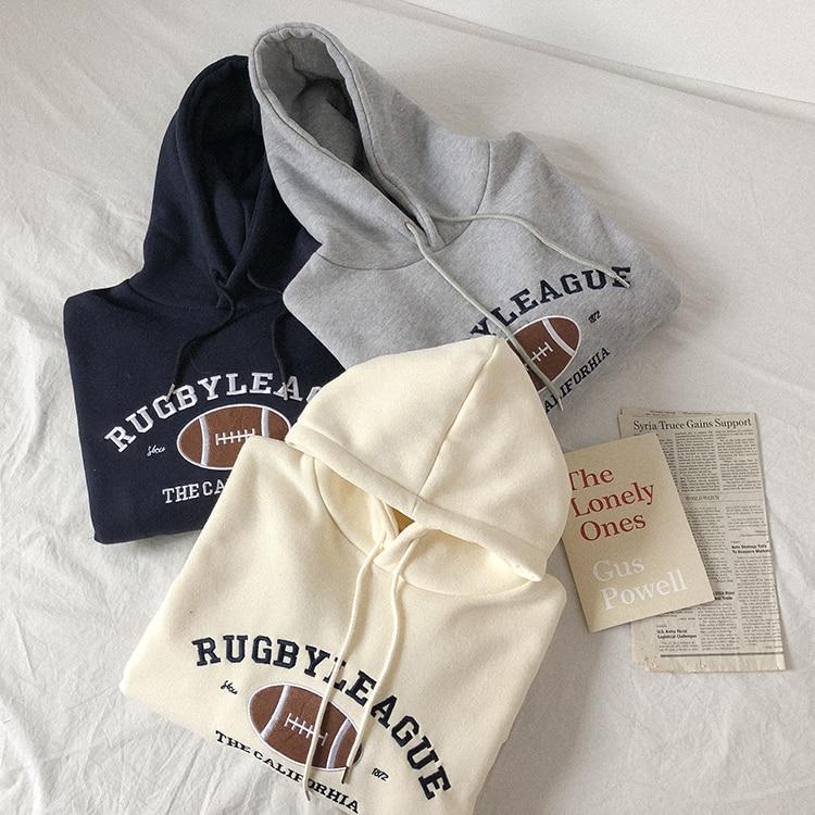 Rugby Fleece Women Hoodie Beige Gray Blue Loose Casual Korean Style Sweatshirt Hooded Pull Sweatshirt Women italian rugby style футболка