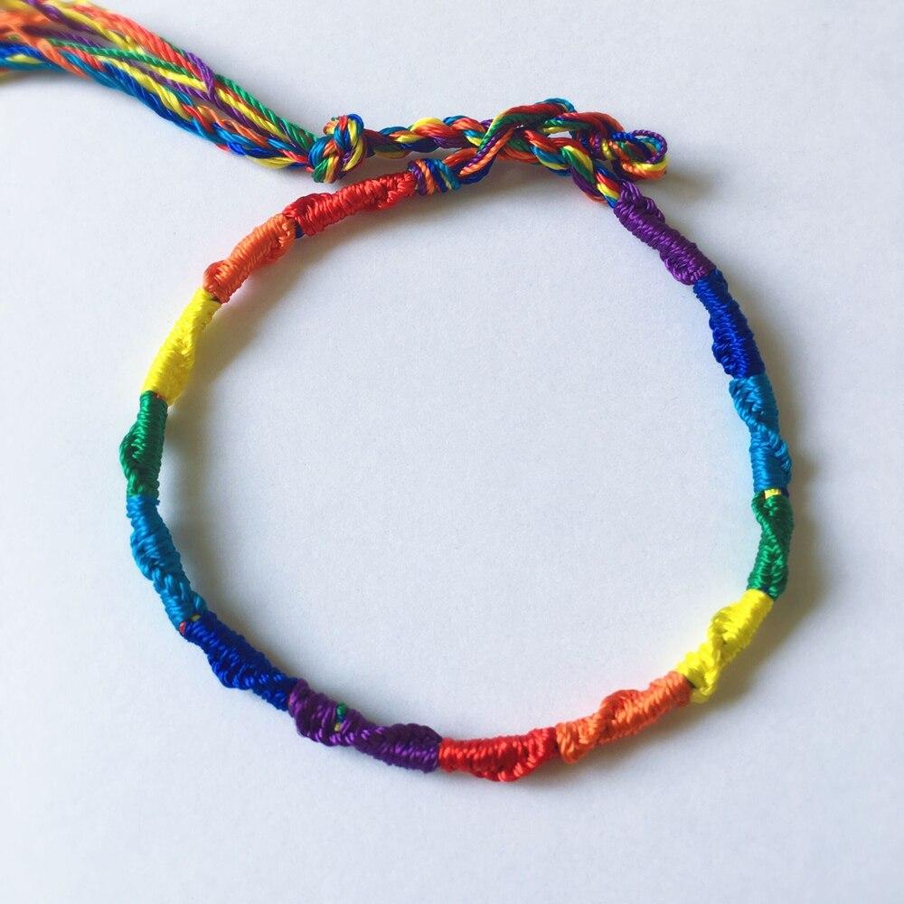 ABL223(1), Cheap Rainbow Lesbian LGBT Pride Gay Pride Woven Braided Rope String Strand Friendship Bracelet