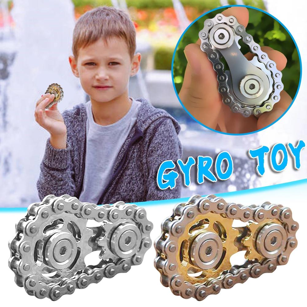 New Sprockets Flywheel Fingertip Gyro Sprockets Chains EDC Metal Toy Gear Chain Gyro Sprocket Funny Office toys Dropship enlarge