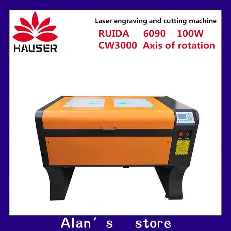 آلة النقش بالليزر haower 6090 100W ، نظام ruida DSP مع عمود دوار لمبرد المياه CW3000 ، شحن مجاني