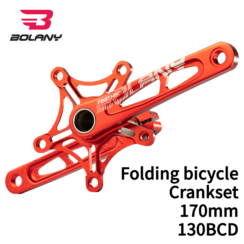 BOLANY Crankset Folding bicycle Crank 170mm 130BCD 5 bolts Aluminum Alloy Bottom Bracket Ceramic Bearing CNC Anodized Bike parts