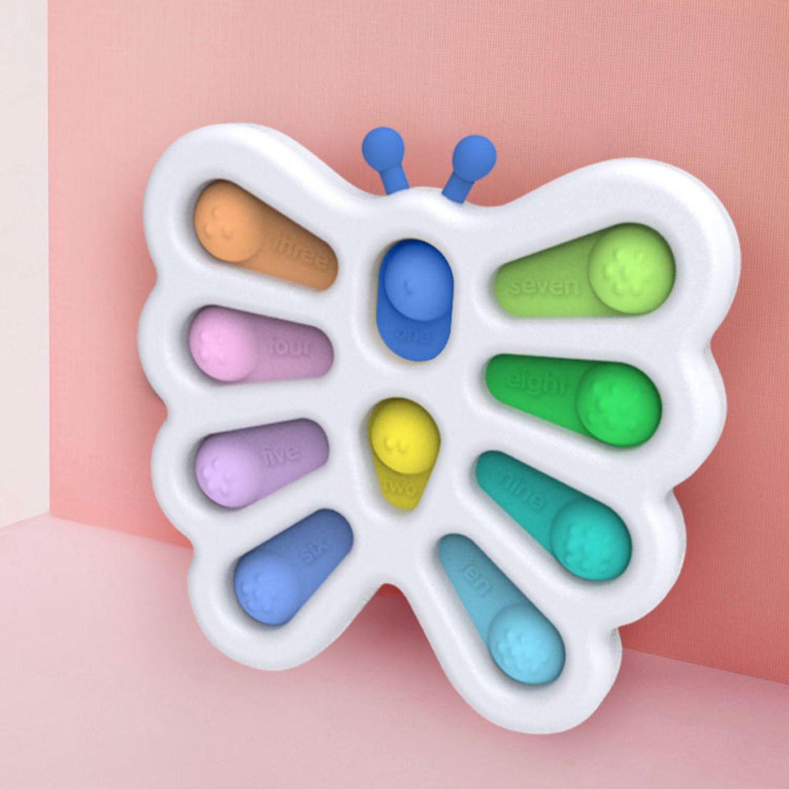 Fidget Dimple Toy Silicone Stress Relief Early Educational Toy Butterfly Shape Multi Color Modeling enlarge