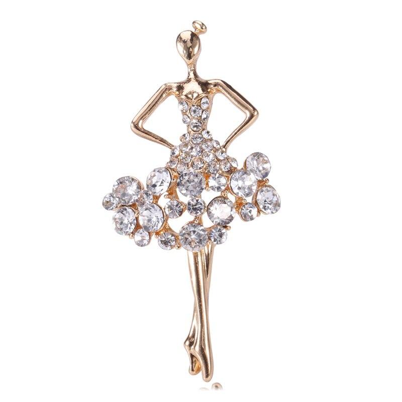 Свадебные ювелирные кристаллы гимнастические балерины Цветочная юбка балетная Девушка Стразы Броши для Женская бутоньерка брошь на булавке