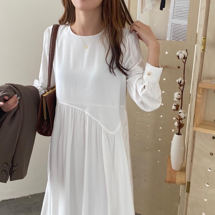 Vestido minimalista elegante de cuello redondo irregular suelto vestidos largos puff sleeve...