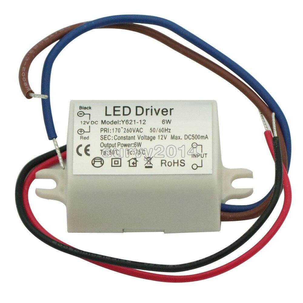 Светодиодный драйвер высокой мощности постоянного тока, 12 В, 6 Вт, 50-60 Гц, 500 мА