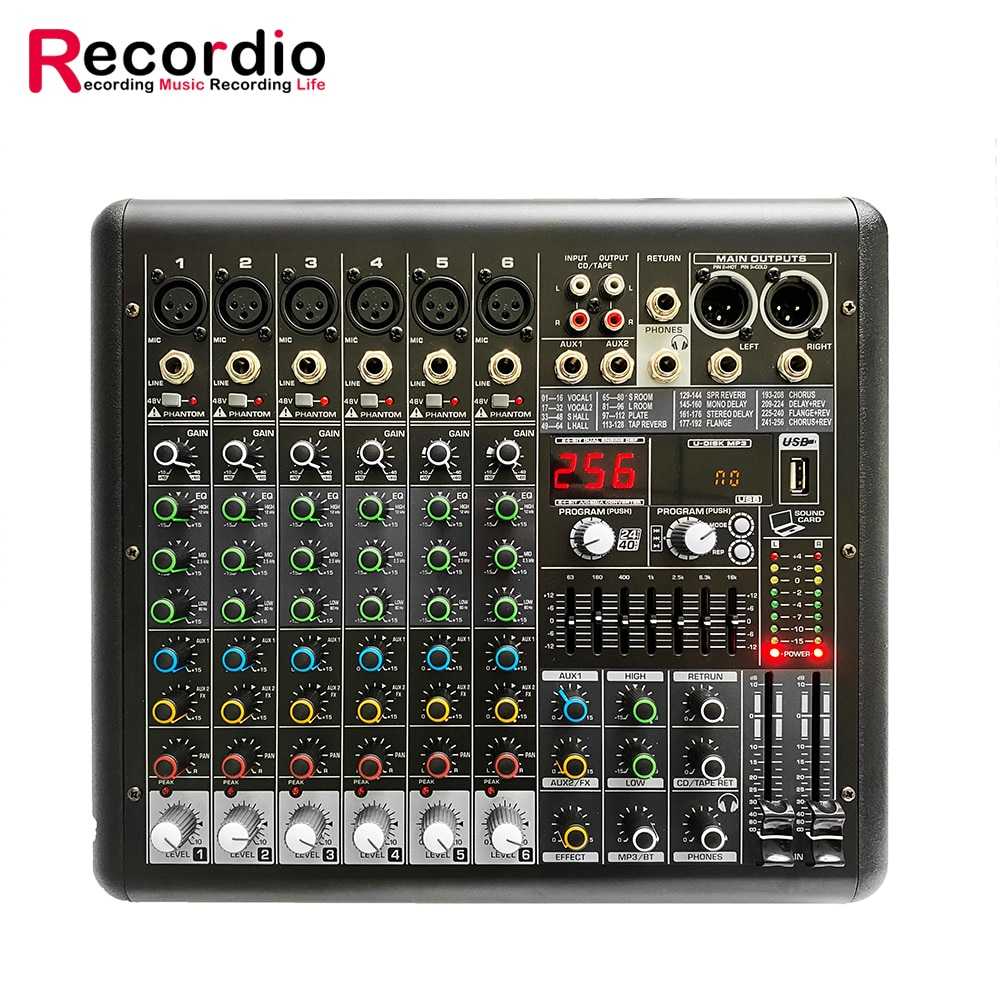 GAX-MR6 مصنع الجملة 6 قنوات المهنية الرقمية الصوت والفيديو خلاط