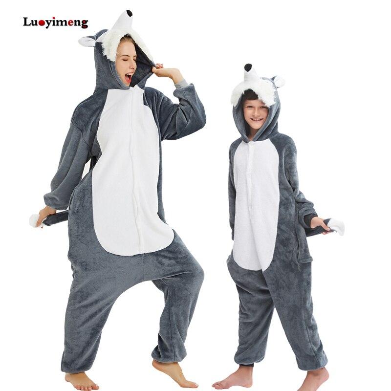 New Kigurumi Wolf Pajamas Adults Animal Lion Panda Unicorn Onesie For Women Kids Pijama Suit Winter Cosplay Costumes Sleepwear