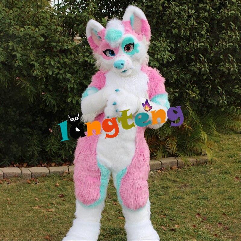 N1 Langteng مثير طويل فروي الوردي الأزرق أجش الكلب زي التميمة