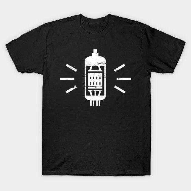 Camiseta de los hombres del tubo de vacío del sincronizador de la guitarra Amp camiseta de las mujeres de la camiseta