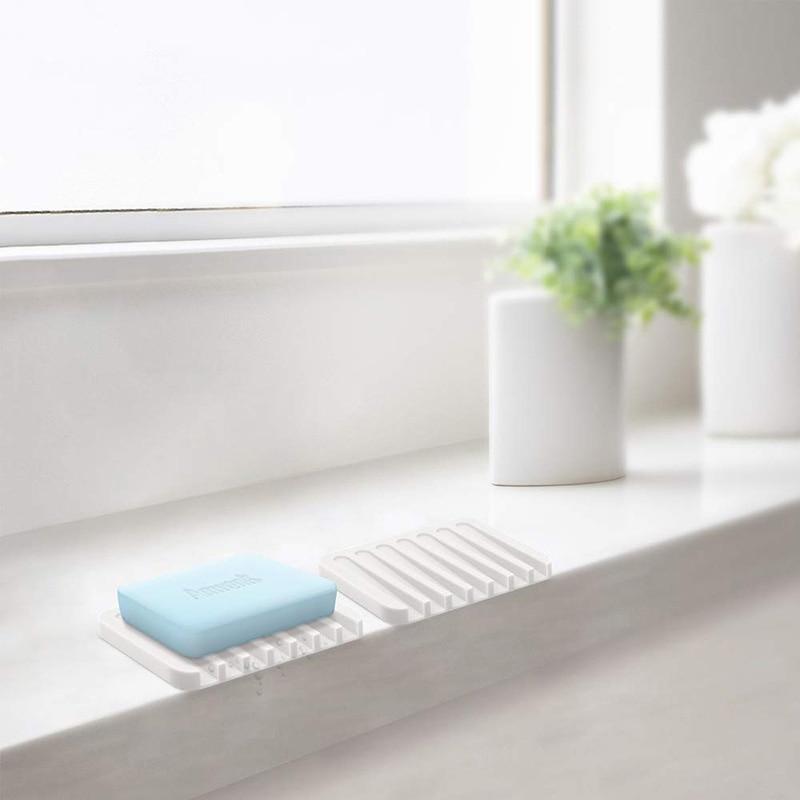 Jabonera de silicona para jabón, jabonera antideslizante con diseño anticascada para ducha baño cocina silicona Flexible de fácil limpieza