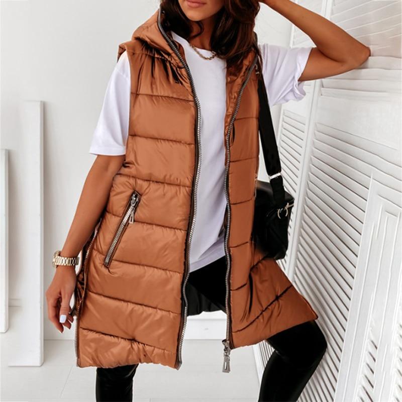 Куртка женская демисезонная с капюшоном, Модная парка средней длины, без рукавов, легкая верхняя одежда