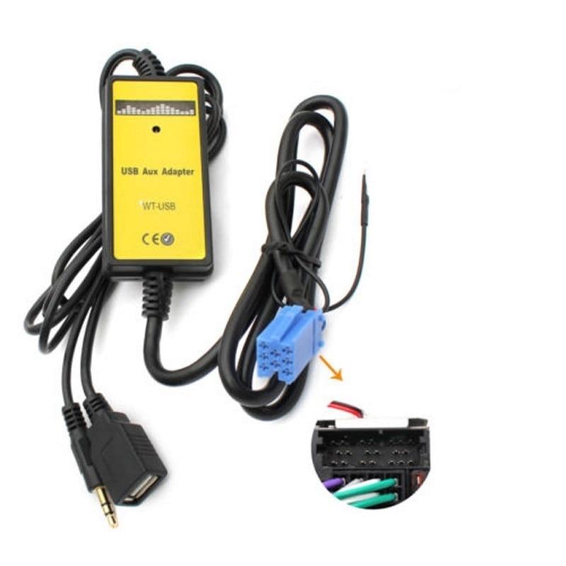 2019 CD de coche MP3 adaptador de interfaz USB Entrada auxiliar para Audi A2 A4 A6 S6 A8 TT S4 S8 con Mini conector azul ISO 8P en oferta