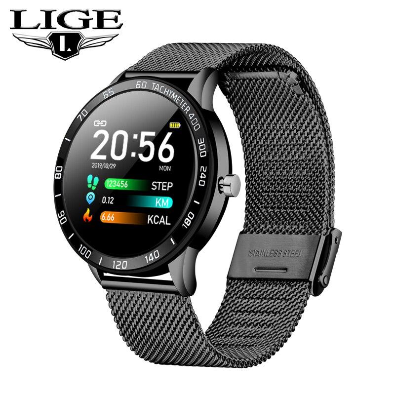 LIGE 2019 новые умные часы для мужчин, OLED цветной экран, умные часы для женщин, модный фитнес-трекер, пульсометр, монитор артериального давления + коробка