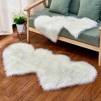 faux wool sheepskin double heart rug carpet soft chair sofa floor mat living room bedroom artificial fur fluffy rugs shaggy mats
