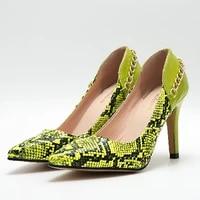 women pumps high heels pointed toe pu office ladies shoes 2021 summer autumn plus size snakeskin stiletto female slip on women