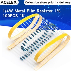 100 pces 1k ohms 1/4w 1k resistor de filme de metal 1kohm 0.25w 1% rohs