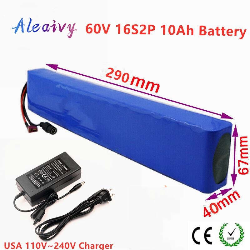 60V 16S2P 12Ah 18650 Li-ion Paquete de batería 67,2 V 10000mAh bicicleta eléctrica Scooter con BMS 1000 vatios T enchufe + cargador