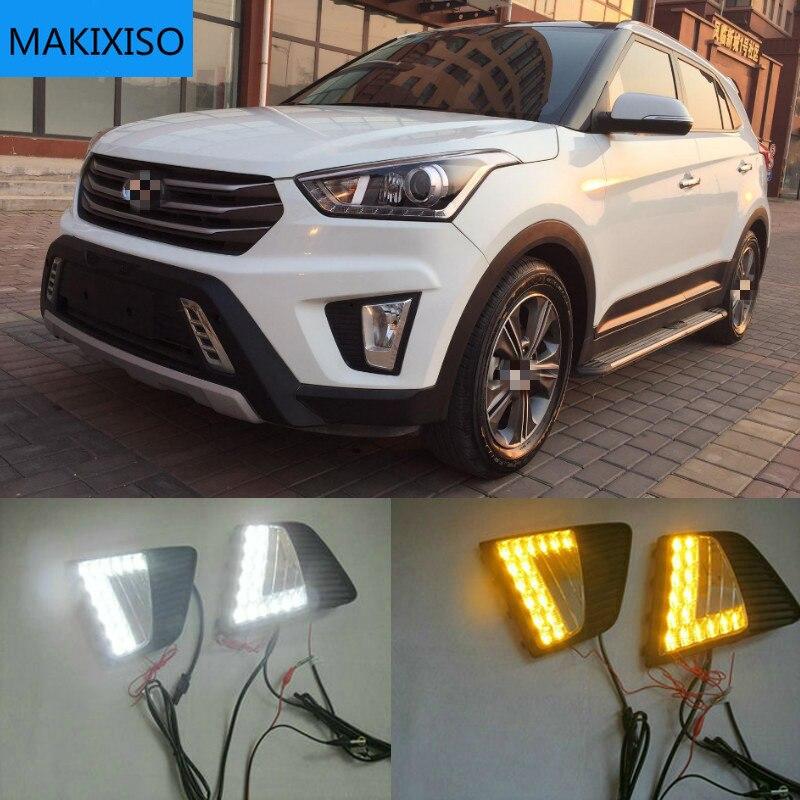 2PCS LED DRL fog lights for Hyundai IX25 Creta 2014 2015 2016 Headlight Daytime Running Light Fog Li