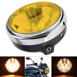Farol universal para motocicleta, 7 Polegada 35w, amarelo, cristal, vidro, lente transparente, feixe redondo, led, para vestidos 600 900 cb400 900