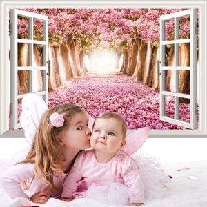 Newest Arrival Creative 3D Fake Window Flowers Wall Sticker Home Background Wall Living Room Decorative Stickers